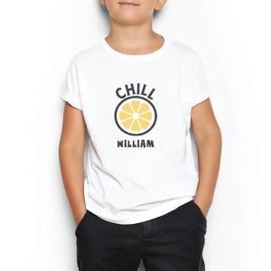 Custom your My Chill Lemon White T-shirt Template, Boy Model View