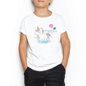 Custom your I want a unicorn White T-shirt Template, Boy Model View