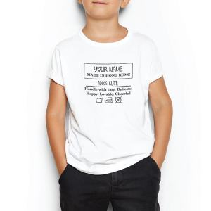 Custom your My Wash Care Instruction White T-shirt Template, Boy Model View