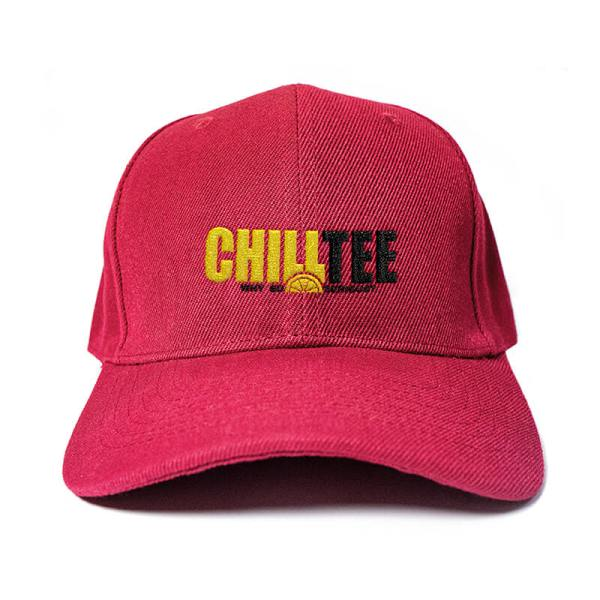 ChillTee Logo in Wine Red Embroidered Cap, Custom our iTee template. Product View