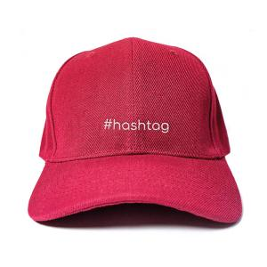 #hashtag in Wine Red Embroidered Cap, Custom our iTee template and make it yours. Product View