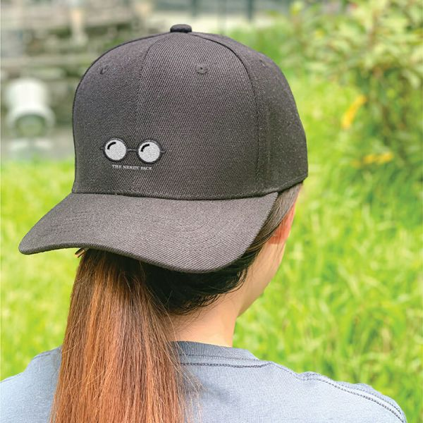 Nerdy Face Black Embroidered Cap, Custom our iTee template and make it yours. Model View