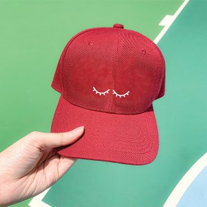 I'm Sleeping Wine Red Embroidered Cap, Custom our iTee template and make it yours. Model View