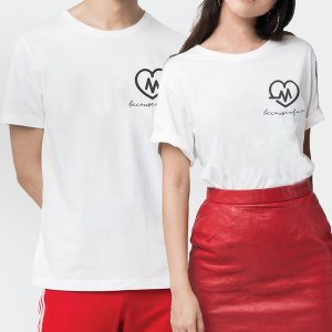 Custom your Heart Beat White Unisex Crew T-shirt Template, Model