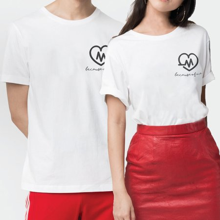Heart Beat Couple T-shirt (2pcs)