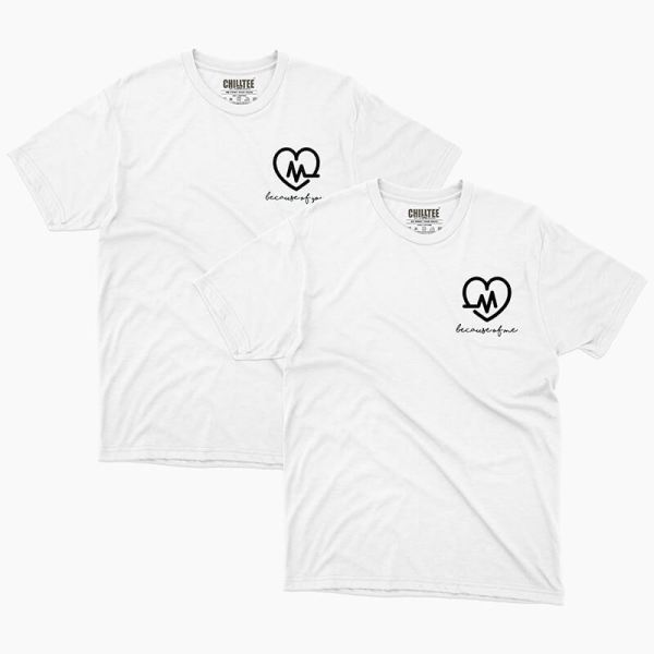 Custom your Heartbeat White Unisex Crew T-shirt Template, Front Product View