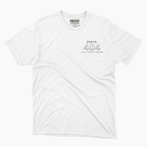 Custom your 404 & Found White Unisex Crew T-shirt Template, Front Product View for Men