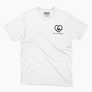 Custom your Heart Beat White Unisex Crew T-shirt Template, Front Product View for Men