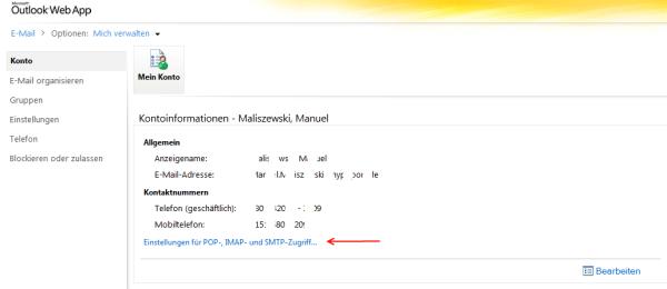 Exchange Server 2010 - IMAP, POP3 und SMTP Einstellungen im Outlook ...