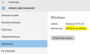 Windows 10 Aktivierung 1