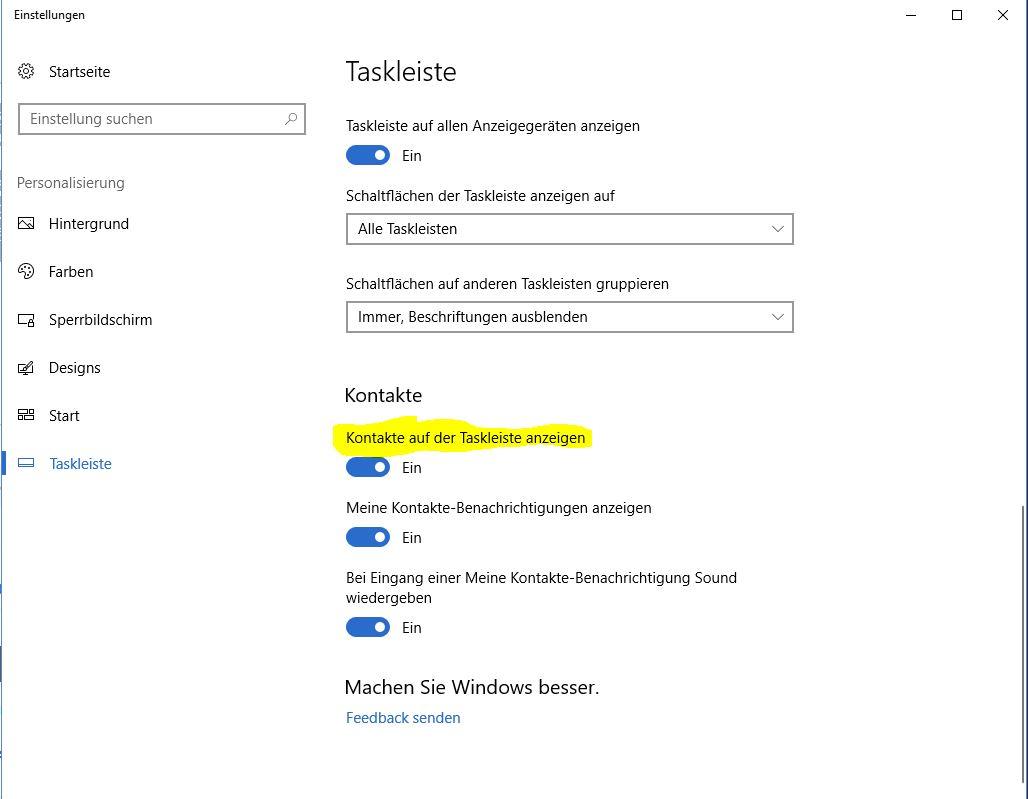 Windows 10 - Fall Creators Update - Kontakte in der Taskleiste ...