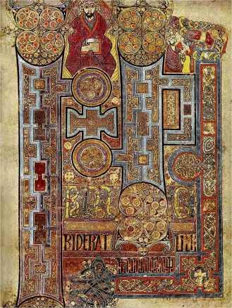 Σελίδα η οποία απεικονίζει το πλούσια διακοσμημένο κείμενο που ανοίγει το Ευαγγέλιο του Ιωάννη