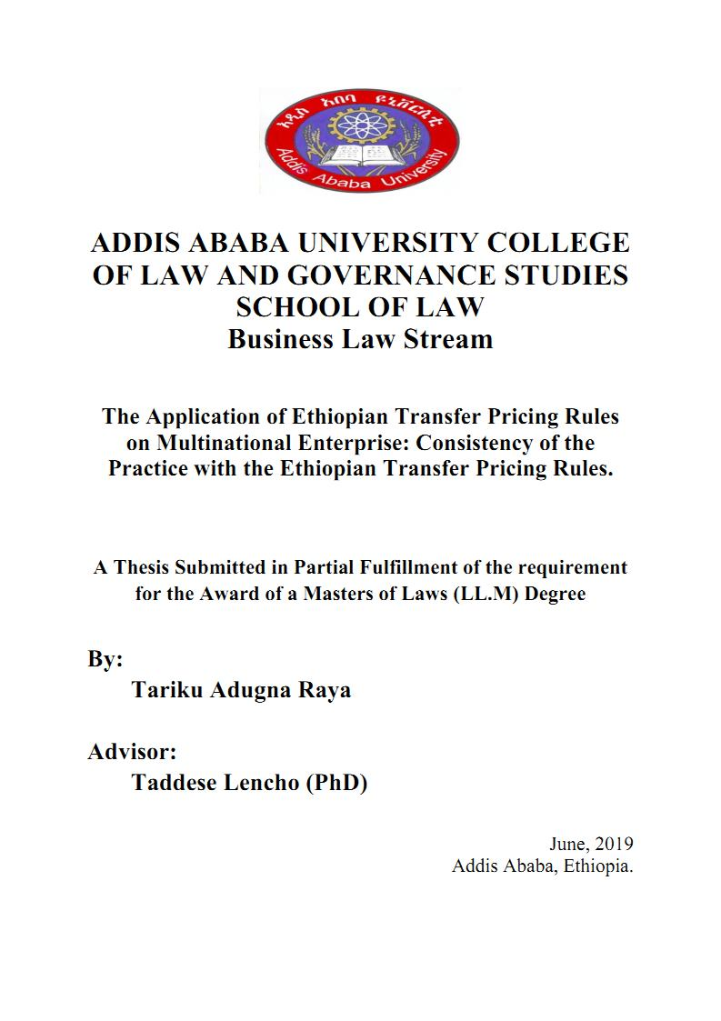 The Application of Ethiopian Transfer Pricing Rules on