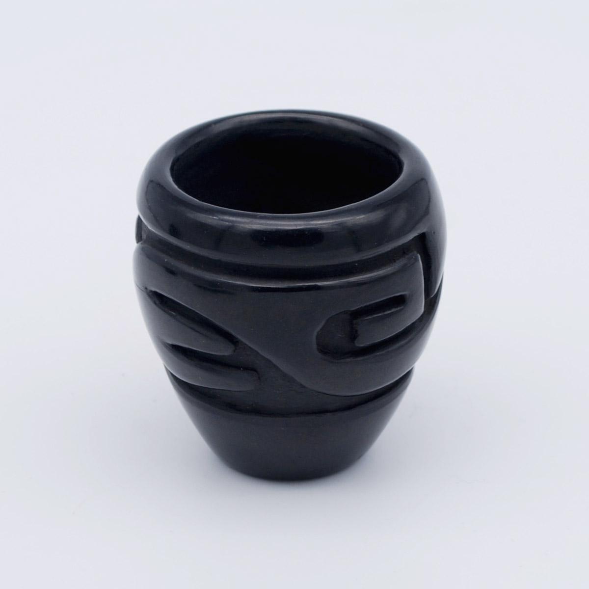 Stella Chavarria-Santa Clara Pueblo-Small Carved Pot-Chimayo Trading del Norte