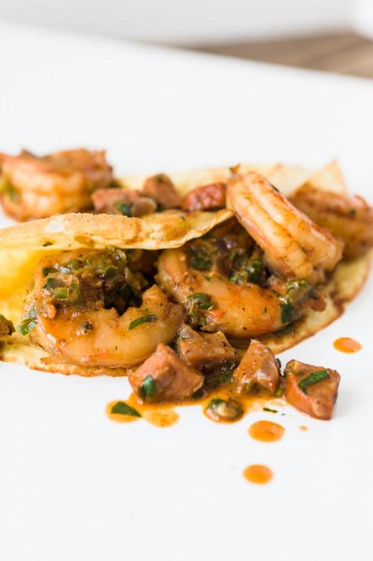 Shrimp & Andouille Crêpes