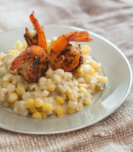Shrimp with Sweet Curry & Coconut Creamed Corn | Minimally Invasive