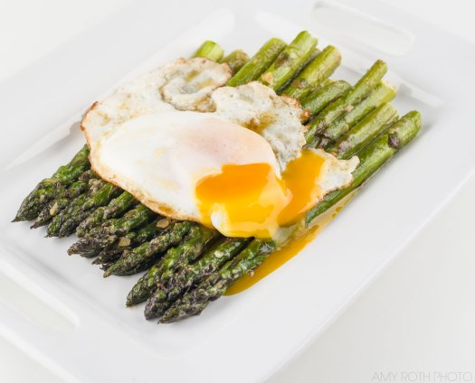 Duck Egg Yolk with Buttered Miso Asparagus | Amy Roth Photo