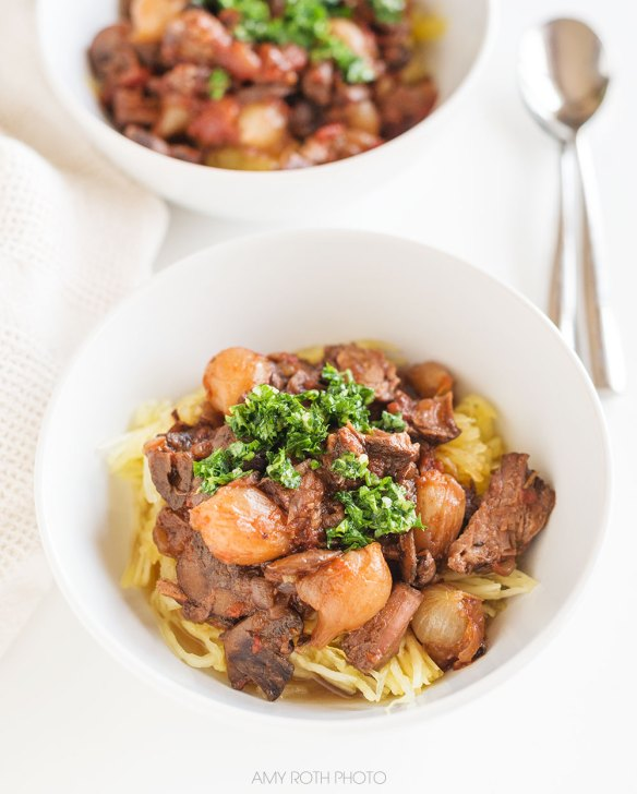Primal Beef Shank Braise with Spaghetti Squash | Amy Roth Photo
