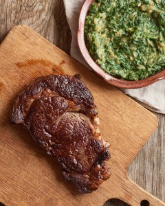 Cast Iron Steak & Vegan Creamed Spinach by Amy Roth Photo