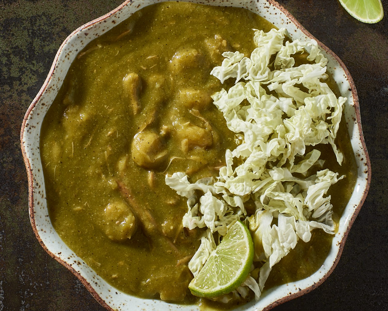 Posole with poblanos and cabbage