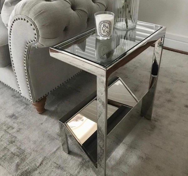 stainless glass top magazine rack side