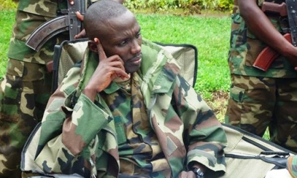 The demobilised M23 commander, Sultani Makenga at a press conference in Bunagana, DRC in 2013