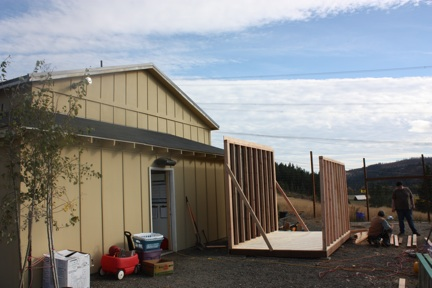 Jim and Brian constructing new shed