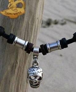 Leder halskette Totenkopf Herrenkette