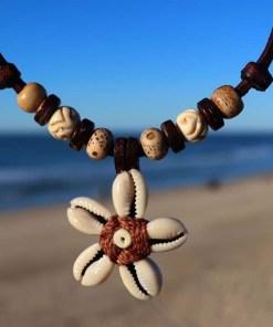 Muschelkette Hawaii Blumenkette Lederkette
