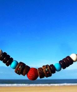 Halskette Koralle Lederhalsband Surferkette