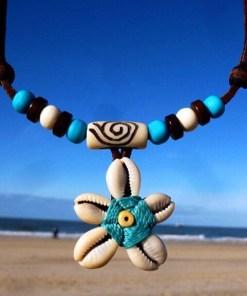 Lederkette Blumenkette Damen Halskette