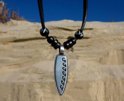 Surferkette Surfbrett Halskette Lederkette