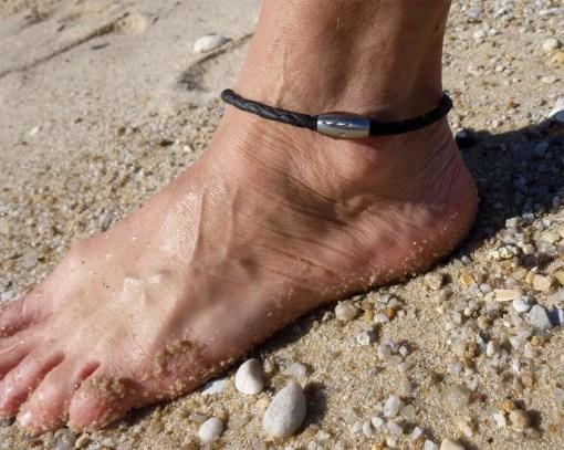 Fußkettchen Leder Kauri-Muschel Fusskette