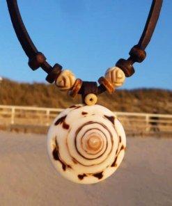 Muschelkette Damen Halskette Lederkette