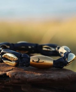 Gold Kauri-Muschel Schwarz Lederarmband