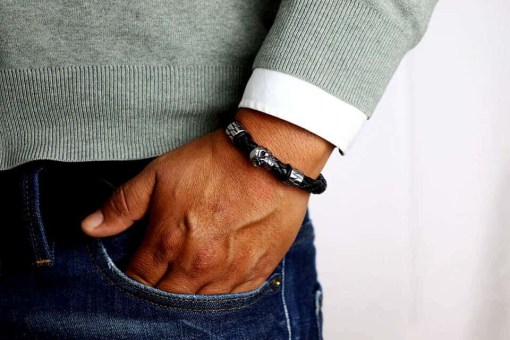 Herren Lederarmband Totenkopf Männer-Armband
