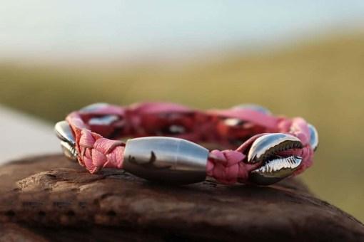 Muschelarmband Rosa Kauri-Muschel Damenarmband.