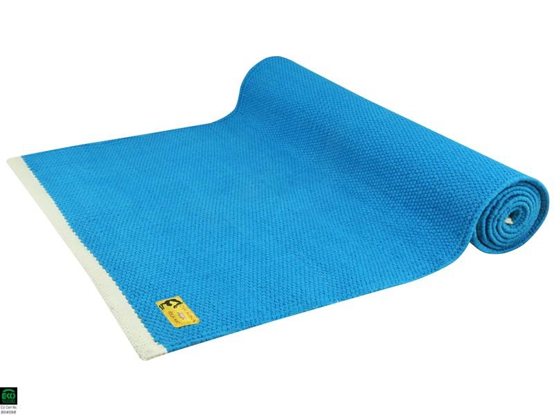 tapis de yoga taj 100 coton bio sans caoutchouc 2 m x 66 cm x 5mm bleu