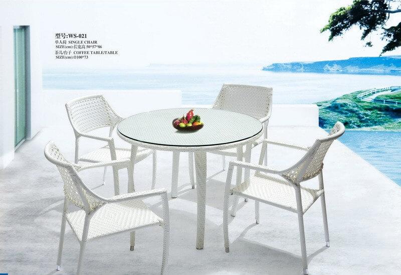 white patio furniture dining set round