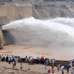 Flood pictures at Xiaolangdi Dam in China