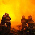 Firefighters fighting flames in China