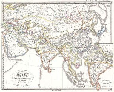 Asien bei Beginn des zweiten jahrhunderts vor Christus. Zeit der Seleuciden und des Turk Reiches der Hiong-nu in Hoch-Asien.