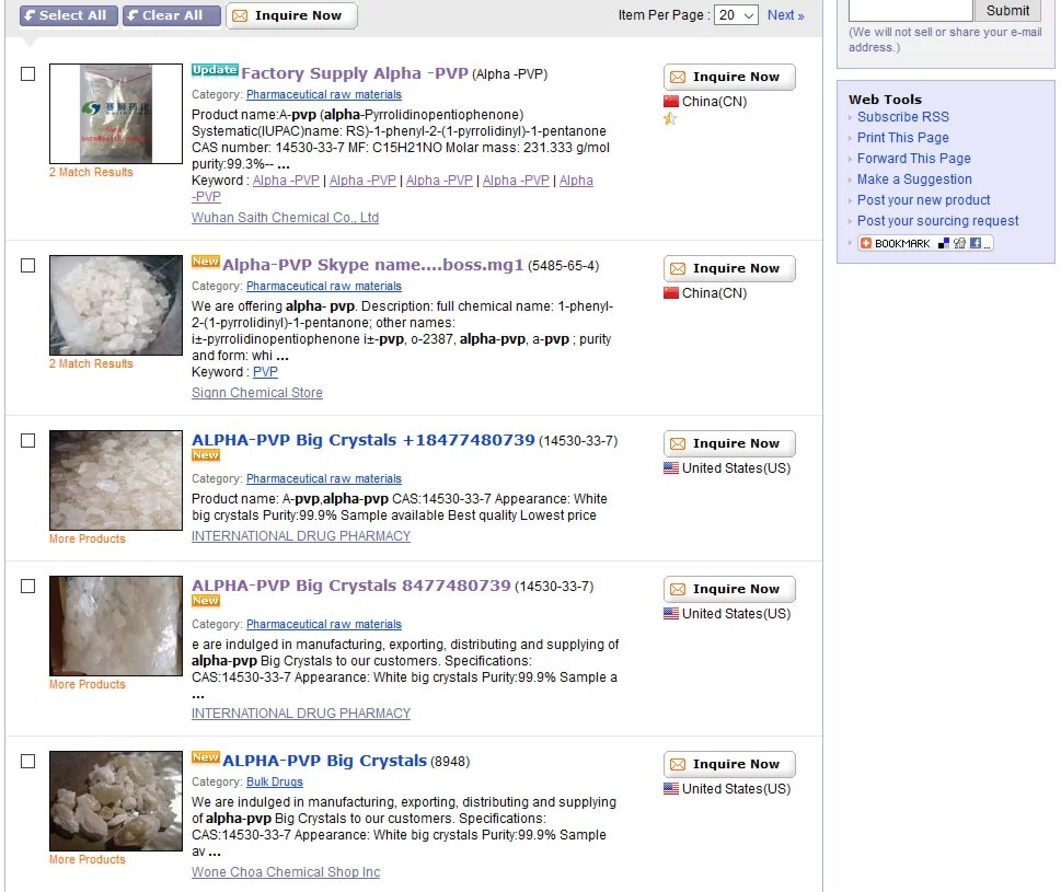 Crystal Meth, Flakka and other designer drugs are ridiculously easy to buy online from China