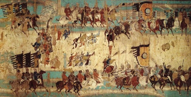 Section of mural depicting victory of general Zhang Yichao who expelled the Tibetan from Dunhuang. Cave 156, Late Tang Dynasty.