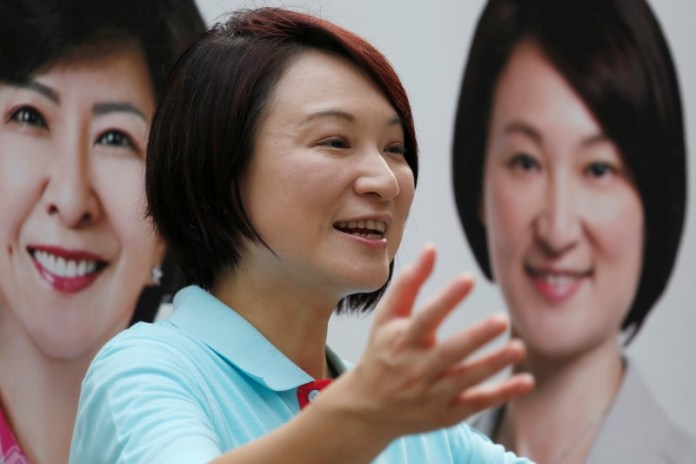 Starry Lee, chairwoman of the Democratic Alliance for the Betterment and Progress of Hong Kong, campaigns in Hong Kong, China August 31, 2016, four days before the Legislative Council election. Picture taken August 31, 2016. REUTERS/Bobby Yip