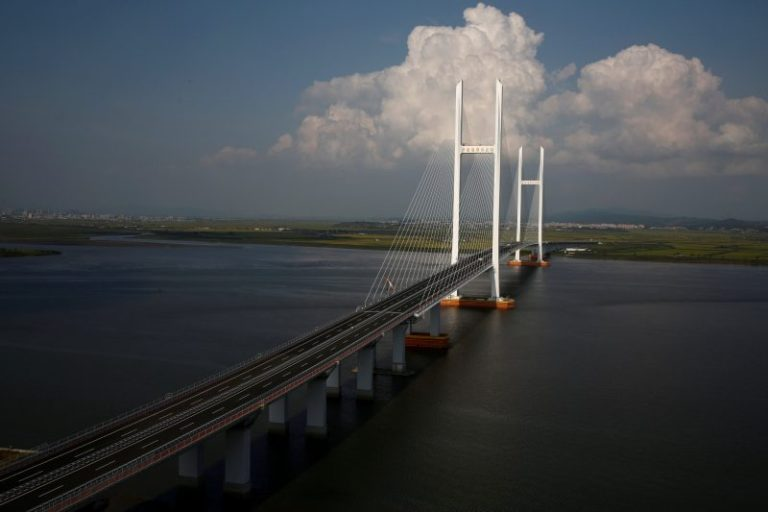 A general view shows the unfinished New Yalu River bridge that was designed to connect China's Dandong New Zone, Liaoning province, and North Korea's Sinuiju.