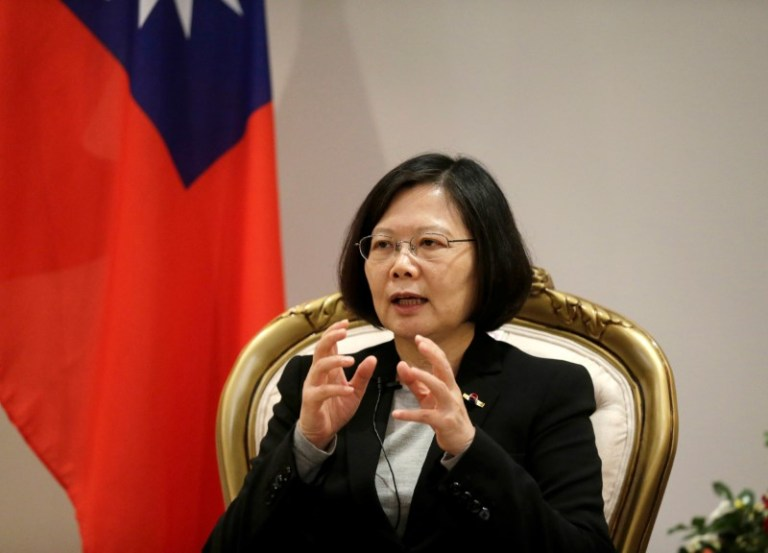 Taiwan's President Tsai Ing-wen speaks during an interview in Luque