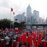 Thousands of pro-China protesters demonstrate outside the Legislative Council in Hong Kong