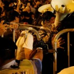 Demonstrators are pepper sprayed by police during a protest in Hong Kong