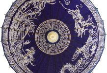 Rooster and Dragon on Dark Blue